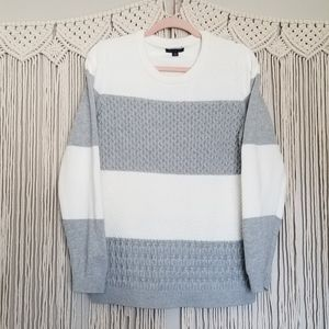 Tommy Hilfiger cream gray colorblock knit sweater
